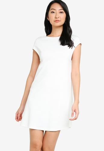 ZALORA BASICS white Back Detail Shift Dress 9A05BAA1B5CD9AGS_1