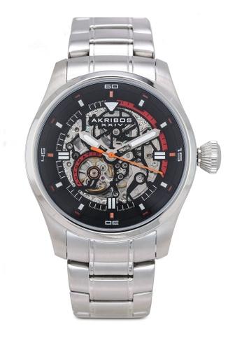 Akribos XXIV silver Automatic Skeleton Watch 336D4AC79958B8GS_1