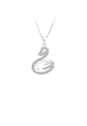Glamorousky silver 925 Sterling Silver Swan Pendant with White Cubic Zircon and Necklace 6459EACD3E8CDDGS_1