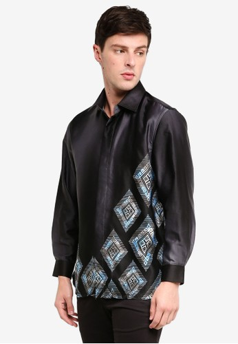 Gene Martino black Men's Batik Diamond Print Shirt A10CCAACCDF364GS_1