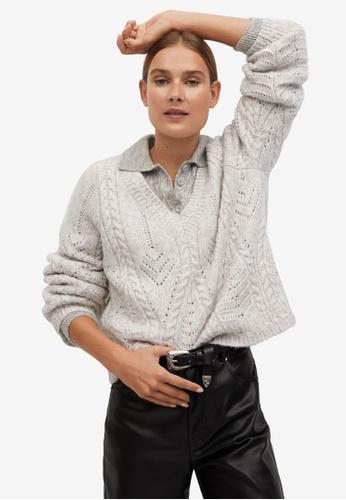 Mango grey V-Neckline Oversize Sweater DAA15AAE9E061CGS_1