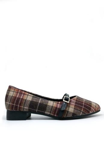 Twenty Eight Shoes brown Check Pattern Pointy Flats 426-5 E05E7SH3C864C5GS_1