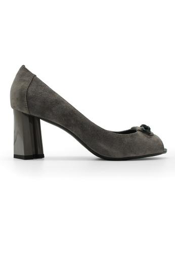 Gripz grey Clover Suede Open Toe Thick Heels GR357SH44BMDSG_1