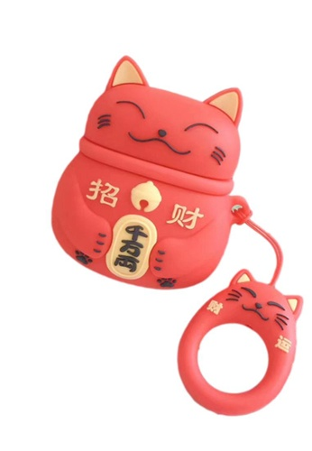 Kings Collection red Red Japanese Lucky Cat AirPods Case (UPKCAC2115) 6B9CEACB538DAAGS_1