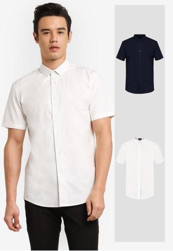 ZALORA white and navy 2 Pack Soft Cotton Twill Short Sleeve Shirt ZA919AA0FKGLSG_1