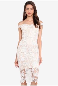 4b42b40f91 MISSGUIDED white Lace Bardot Midi Dress 29F0CAA30E1E74GS_1