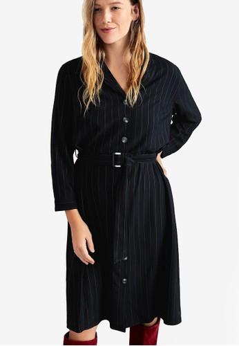 Violeta by MANGO black Plus Size Belt Striped Dress 4AF0CAA96161C0GS_1