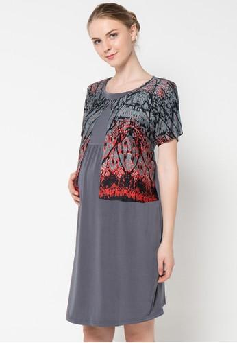 ELSY'S grey Dres Lengan Pendek Rompy Sambung Bercorak EL744AA86TVDID_1