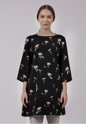 The Executive black Flower Print Tunic Blouse E5EB9AAF05F627GS_1