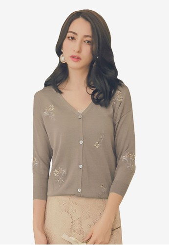 Yoco brown Embroidered Knit Cardigan 8C072AA2A7D0D6GS_1