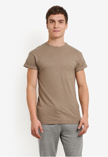 Topman purple Taupe Linen-Look Muscle Roller T-Shirt TO413AA0RXUUMY_1