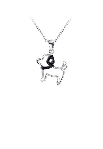 Glamorousky black 925 Sterling Silver Simple Cute Dog Pendant with Cubic Zirconia and Necklace A3E43AC780BA74GS_1