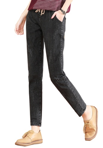A-IN GIRLS black Elasticated Embossed Jeans 6245CAA3CB209EGS_1