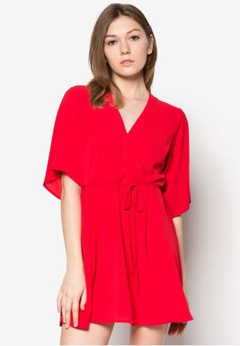裹式繫zalora 評價帶寬袖連身裙, 服飾, 服飾