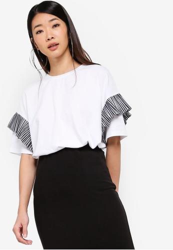Something Borrowed 白色 條紋T恤 6F182AA413CEF0GS_1