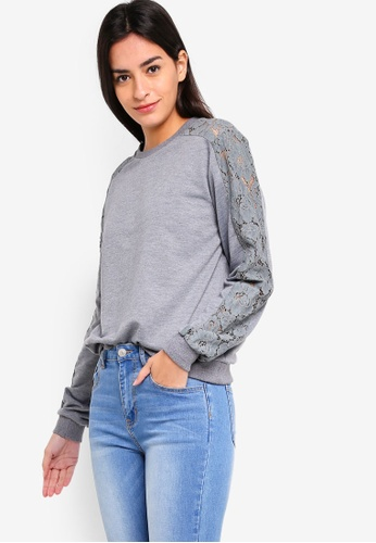 ZALORA grey Lace Panel Sweatshirt A3334AA2930584GS_1