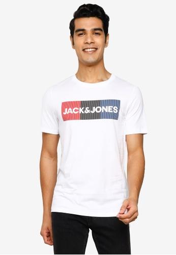 Jack & Jones white Corp Logo Print Tee 64C85AA6EE658DGS_1