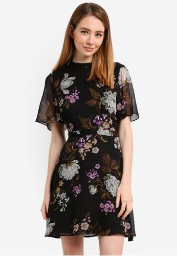 WAREHOUSE black Molly Print Dress 9C391AAABFC9D6GS_1