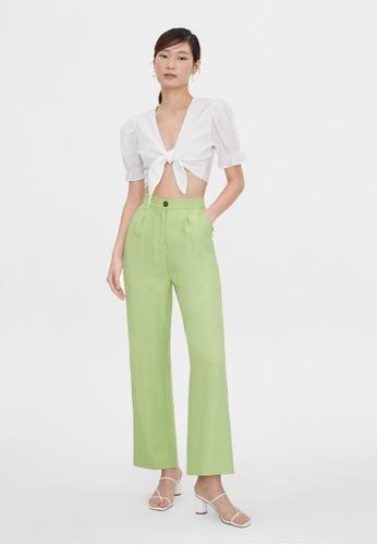 Pomelo green Single Button Wide Leg Pants - Green 3E7C8AA36A1148GS_1