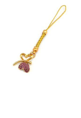 Glamorousky silver Golden Strap with Double Heart Butterfly in Purple Austrian Element Crystals 5EB28AC836F563GS_1