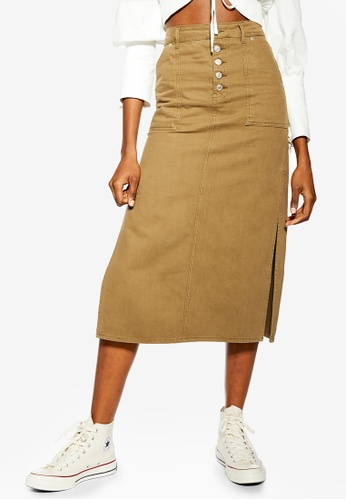 d0bc1f10ee1167 Buy TOPSHOP Khaki Midi Denim Skirt Online on ZALORA Singapore