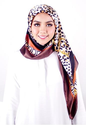 FATIMÉ black and brown and yellow Satin Square Hijab Cheetah (Brown) AE744AAFF7AC7DGS_1