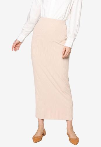 ZALIA BASICS beige Basic Knit Skirt 35393AA72C0FADGS_1