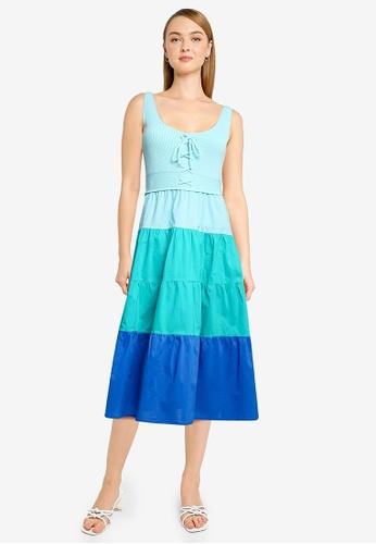 Springfield green Contrast Ombre Dress 1E464AA56D8D7CGS_1