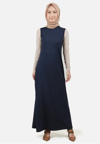 Jual Queensland Dress Gamis Muslim Tanpa Lengan A04041q Navy Original Zalora Indonesia