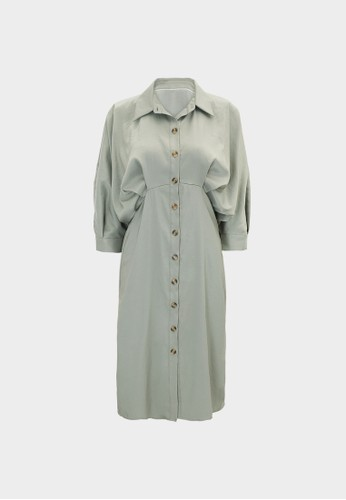 Pomelo green Button Up Draped Sleeves Dress - Green 2FE2CAA2B92102GS_1