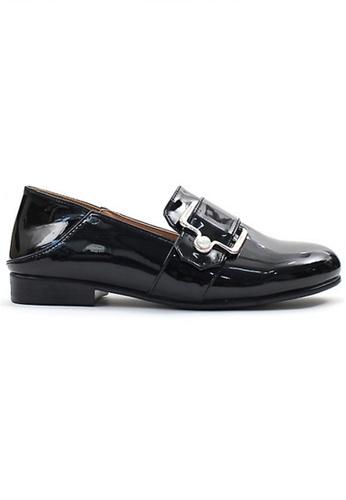 Crystal Korea Fashion 黑色 韓國製百搭搪瓷亮面平底鞋 C67A2SH172BD8CGS_1