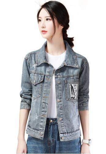 A-IN GIRLS blue Amphibole Hooded Denim Jacket 7358EAA66D6424GS_1