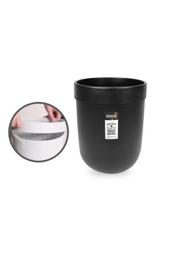 HOUZE black HOUZE - 8L Waterproof Design Open Top Wastebin with Pressure Ring (Black) 91151HL97EEF0CGS_1