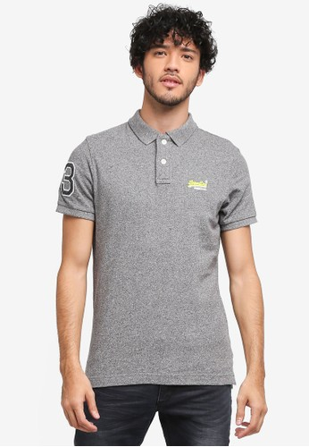 Superdry grey Classic Pique Polo Tee BFD58AAA67C078GS_1