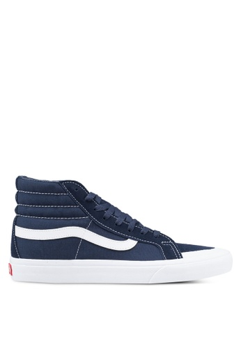 54bc7d398b VANS white and blue SK8-Hi Reissue 138 Suede and Canvas Sneakers  E4807SHFFD4E17GS 1