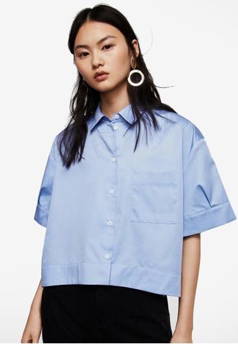 Mango 藍色 寬袖短版襯衫 761E8AA12B0932GS_1