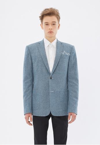 Flawless Flashbacks. blue Blue Signature Embroidered Wool-Blend Blazer F4F2FAA8B218BAGS_1