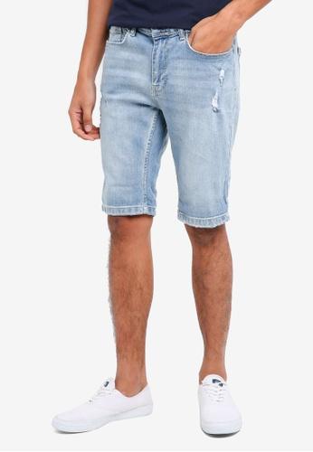 Burton Menswear London 藍色 刷破牛仔短褲 0F1E2AA533F200GS_1