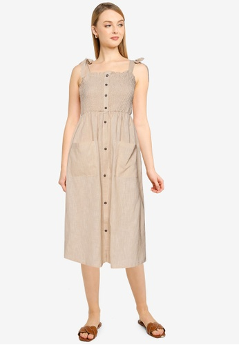 Brave Soul beige Shirred Bust Button Through Dress 6C6A7AAD3FABB3GS_1