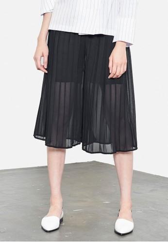 褶esprit outlet 旺角飾微透五分寬管褲, 服飾, 長褲及內搭褲