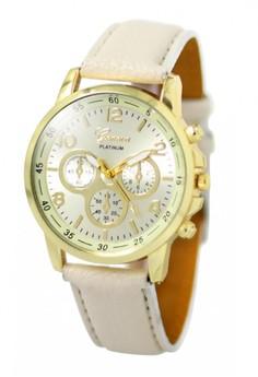 Geneva Sophie Cream Leather Strap Watch