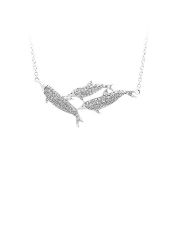 Glamorousky silver 925 Sterling Silver Whale with White Cubic Zircon and Necklace 19173AC3D7E866GS_1