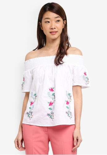 Dorothy Perkins white White Embroidered Bardot Top 42A64AA24A6EFEGS_1