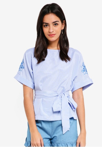 ZALORA blue Embroidered Sleeves Top A1430AA008FB30GS_1