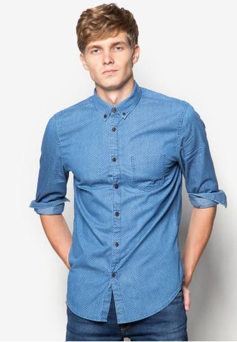 印花丹寧長袖襯esprit 品牌衫, 服飾, 襯衫