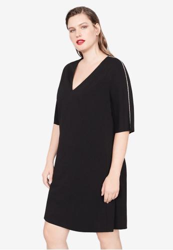 Violeta by MANGO 黑色 Plus Size Rhinestone Detail Dress 2652BAAA5762E5GS_1