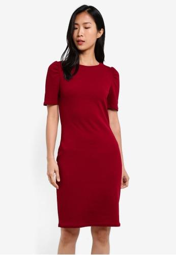 Dorothy Perkins red Plain Tuck Sleeve Bodycon Dress DO816AA0S7AKMY_1