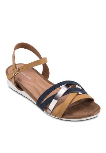 Jeanesprit旗艦店ne 交叉帶繞踝厚底涼鞋, 女鞋, 鞋