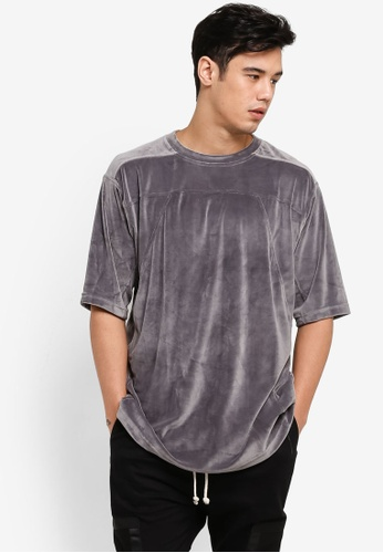 Flesh IMP grey Velour Kong Long Oversized T-Shirt FL064AA72WZJMY_1
