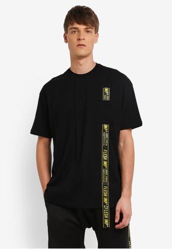 Flesh IMP black Oversized Side Locked T-shirt FL064AA0RN9YMY_1